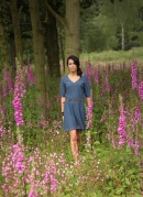 Pointelle Simple Linen Silk Dress in Denim