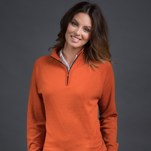 ladies-merino-long-sleeve-zip-pumpkin